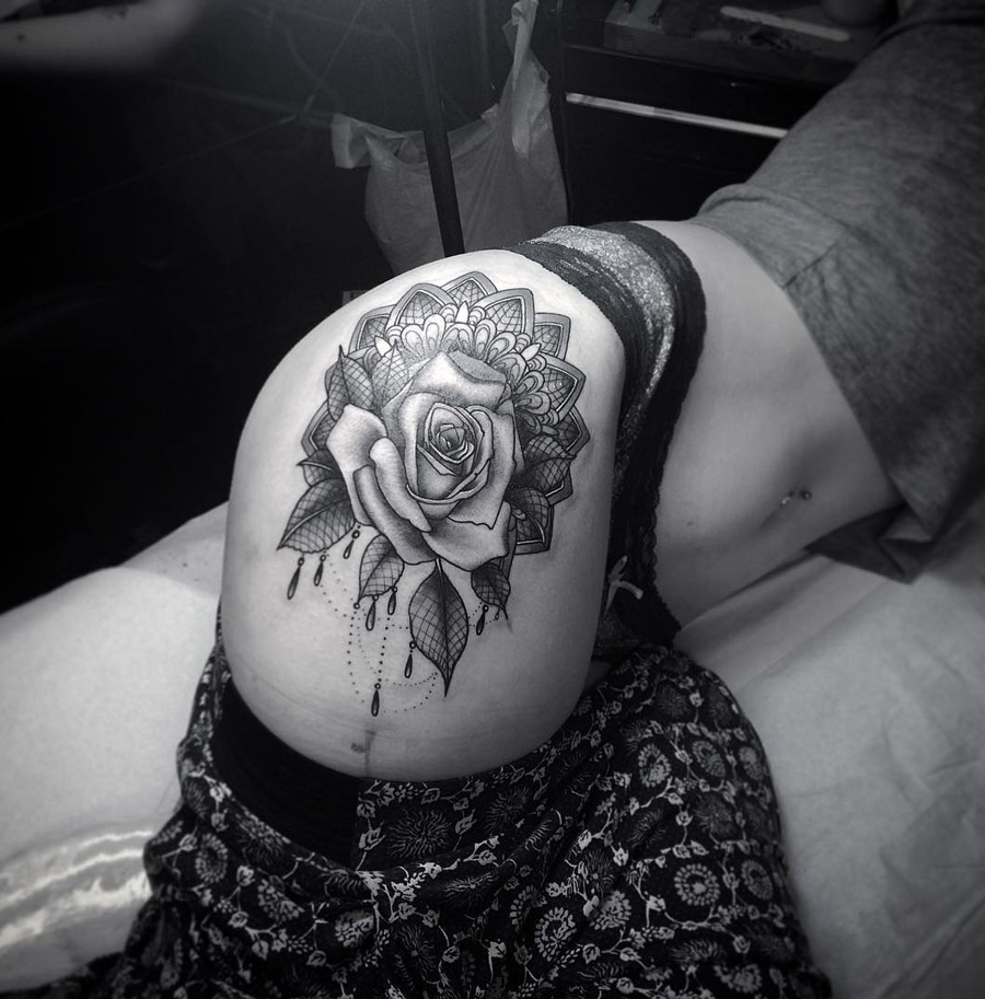 0e484b8133c59 Rose Lace Mandala Hip Tattoo | Best tattoo design ideas