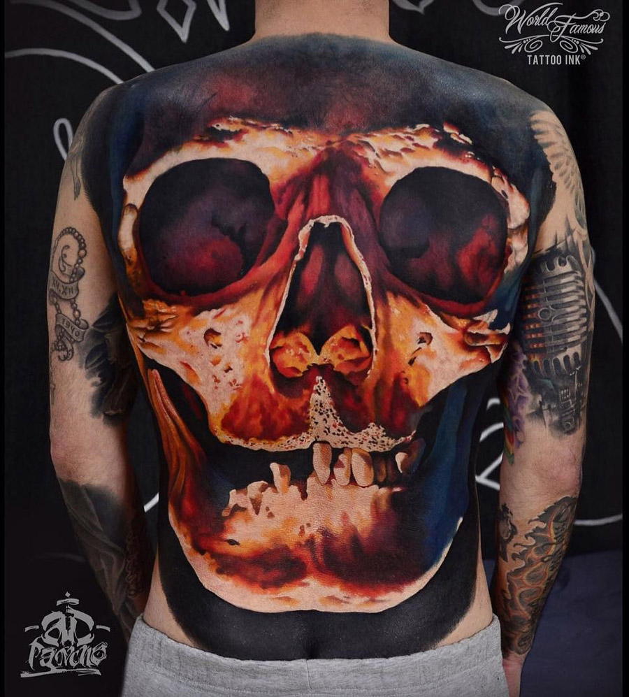 big skull covering guys back best tattoo design ideas. Black Bedroom Furniture Sets. Home Design Ideas