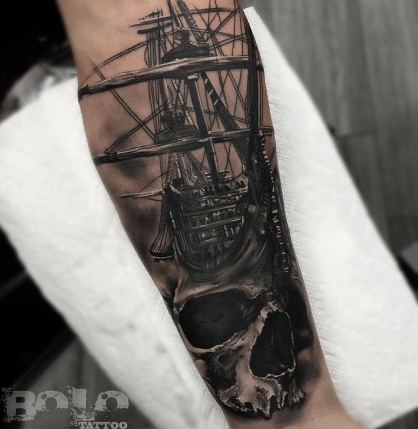 Skull & Sailing Ship tattoo