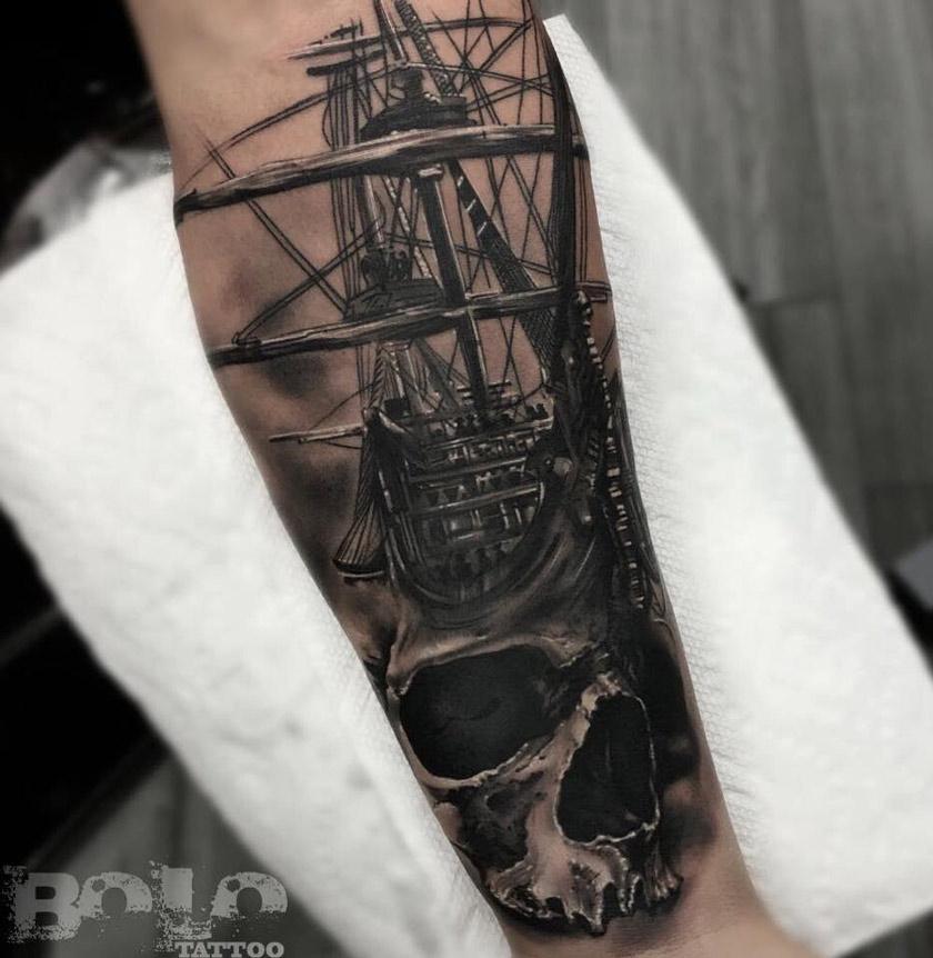 Skull & Sailing Ship Fusion