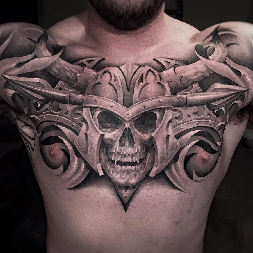 Vampire Skull Chest Tattoo