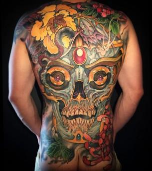 Abstract Skull Back Tattoo
