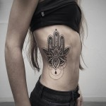Hamsa Side Tattoo