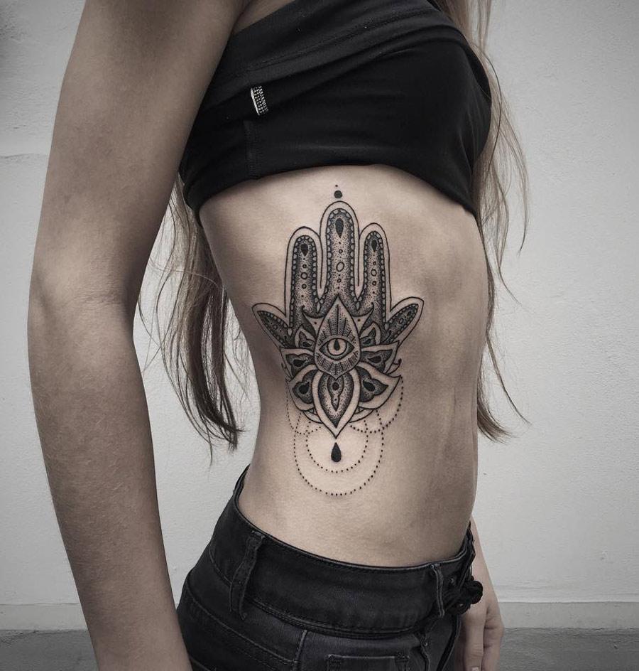 Pretty Hamsa Side Tattoo