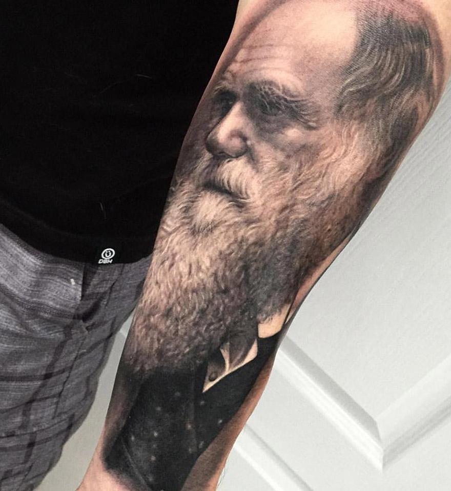 Realistic Darwin Portrait Tattoo