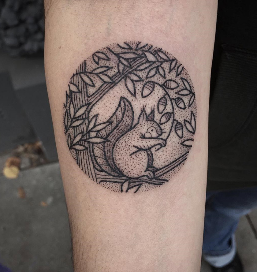 Squirrel dotwork tattoo