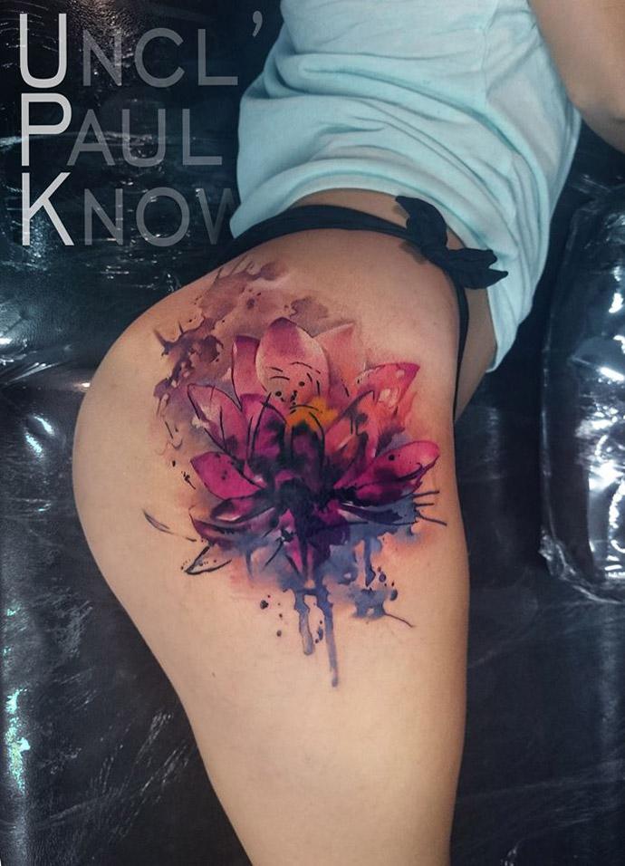 Lotus Flower Hip Tattoo
