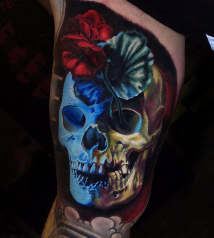 3D Skull & Geranium