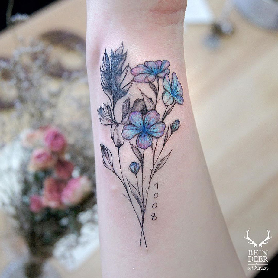 Blue Pink Flowers Best Tattoo Design Ideas