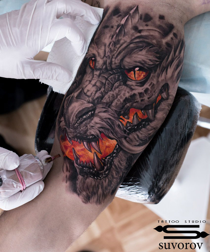 Dragons Breath On Guys Bicep  Best Tattoo Design Ideas