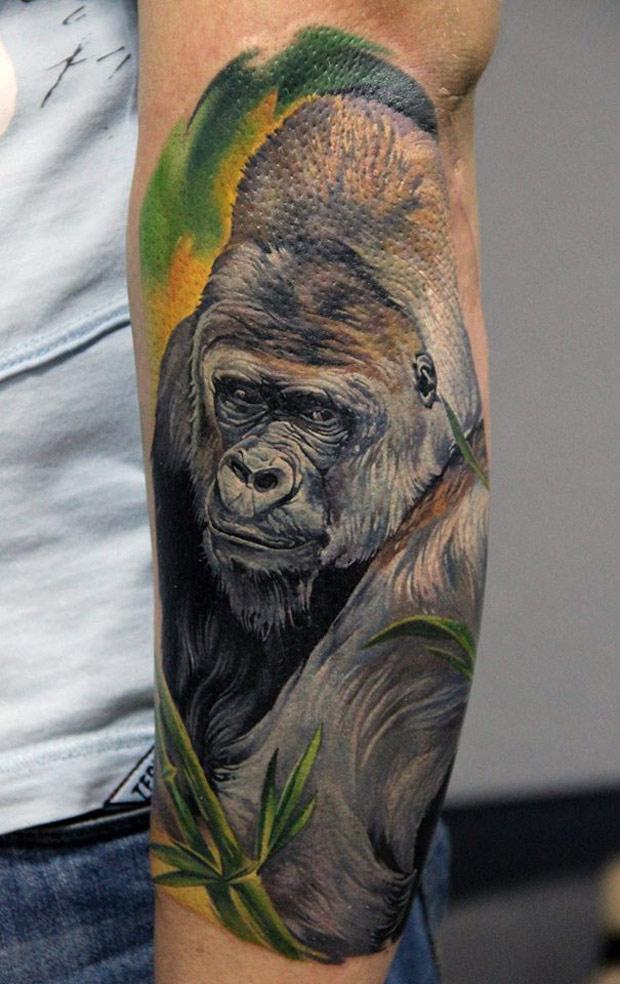 gorilla on forearm best tattoo design ideas. Black Bedroom Furniture Sets. Home Design Ideas