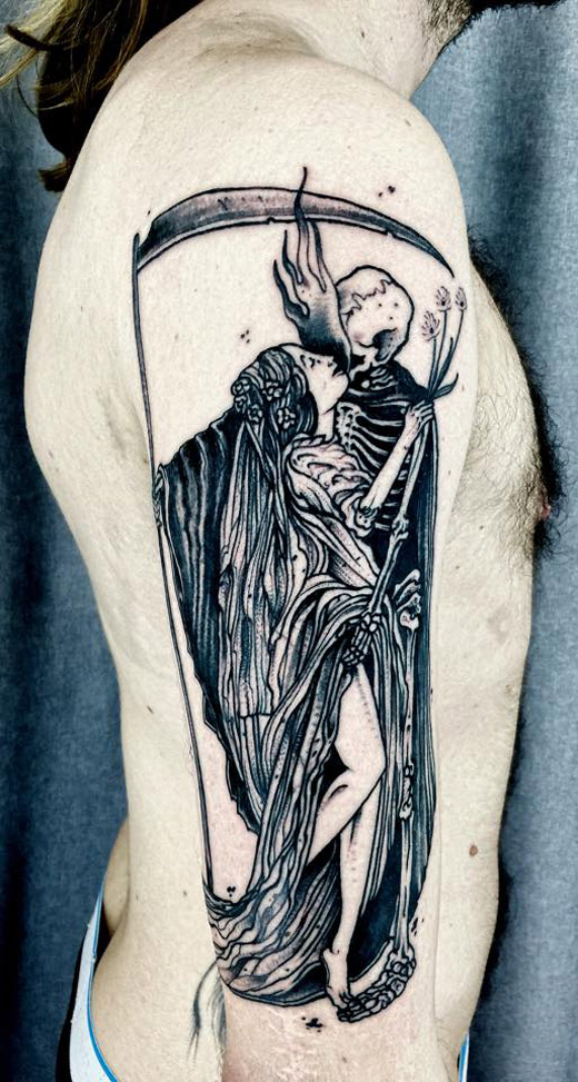 Grim reaper on guys arm best tattoo design ideas for Tattoos of the grim reaper
