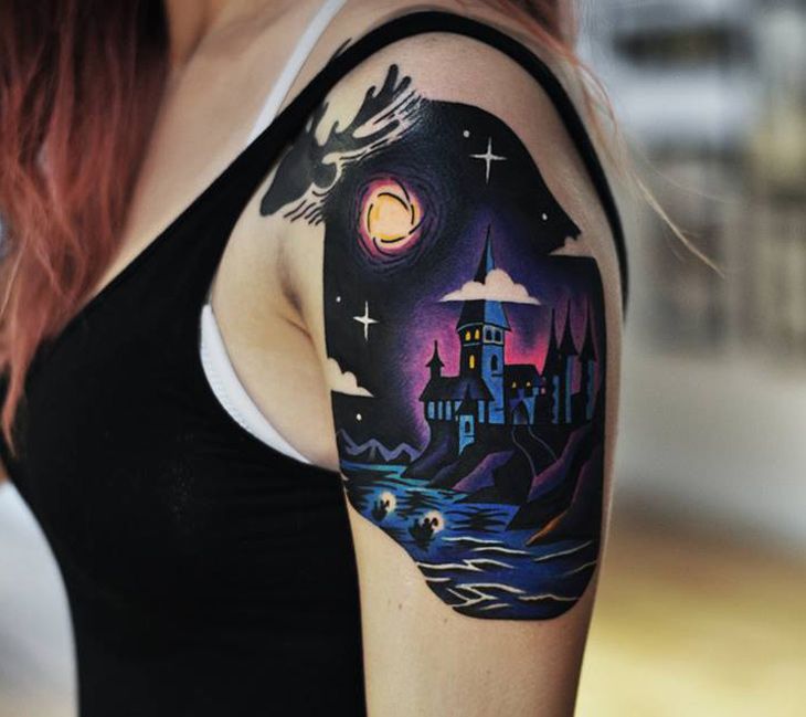 hogwarts shoulder piece best tattoo design ideas. Black Bedroom Furniture Sets. Home Design Ideas