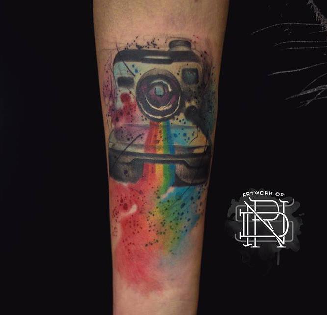 watercolor polaroid camera best tattoo design ideas