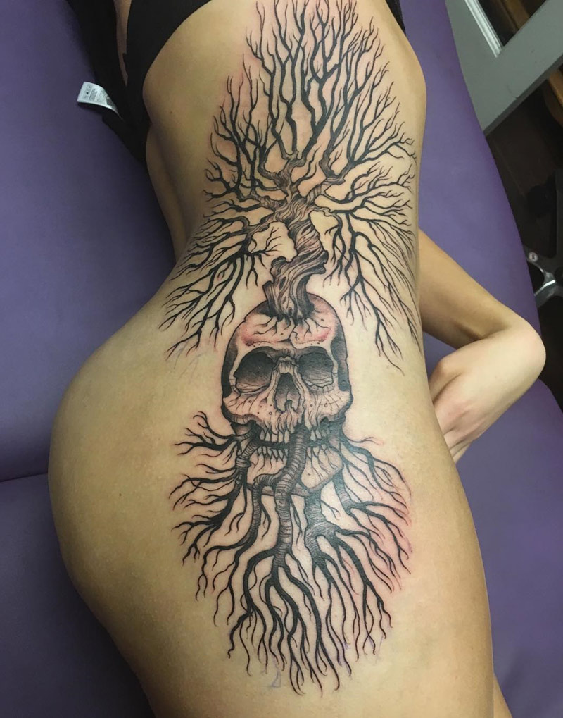 Growing tree & skull tattoo