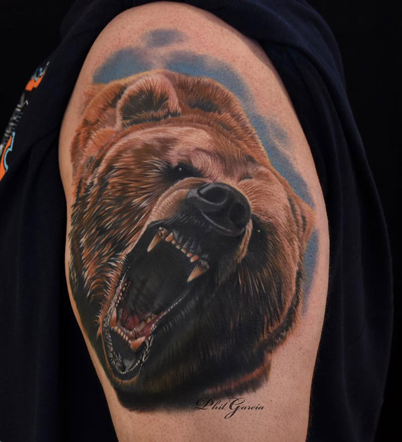Roaring Grizzly Shoulder Tattoo