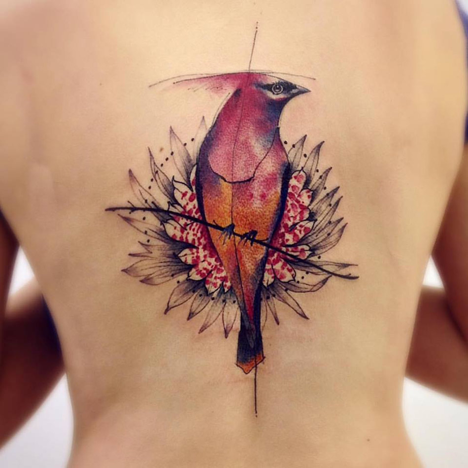 Pretty Pink Bird Flower Best Tattoo Design Ideas