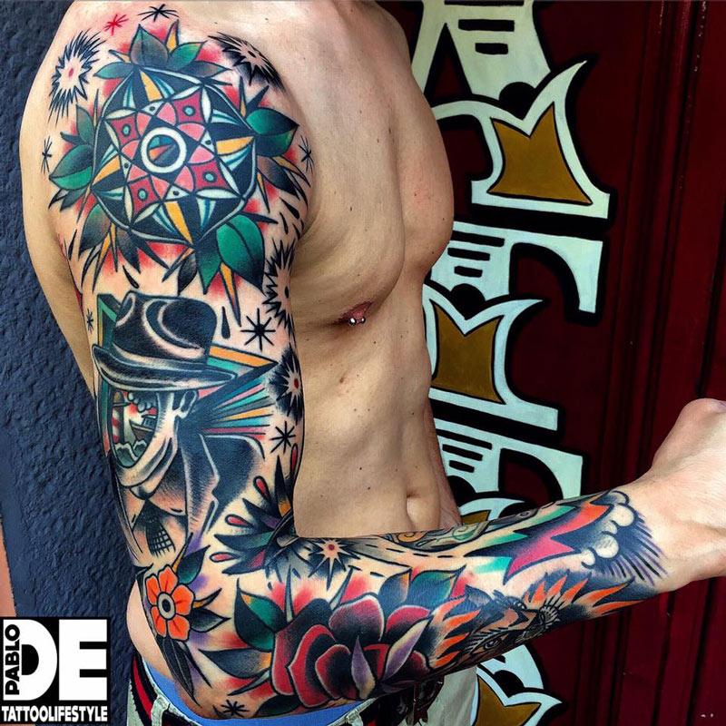 Colorful Retro Sleeve   Best tattoo design ideas