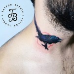 Minimalistic Crow Neck Tattoo