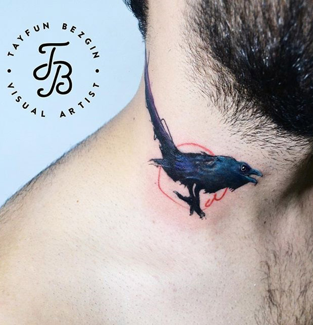 Small Crow On Neck