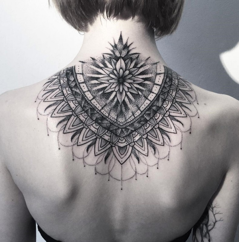 dotwork mandala on neck. Black Bedroom Furniture Sets. Home Design Ideas