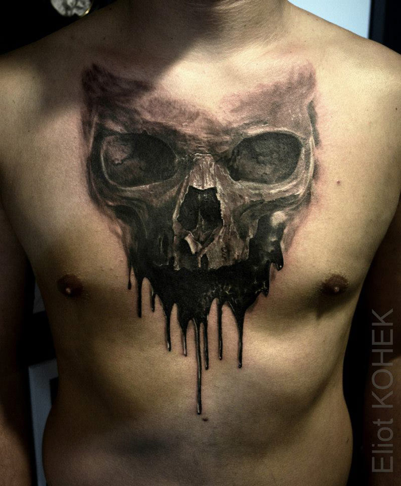Dripping Skull Chest Tattoo