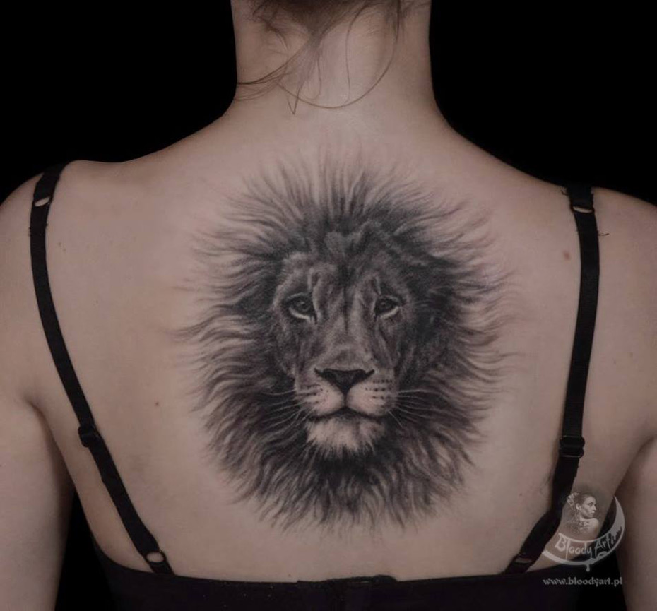 Fluffy Lion Back Tattoo