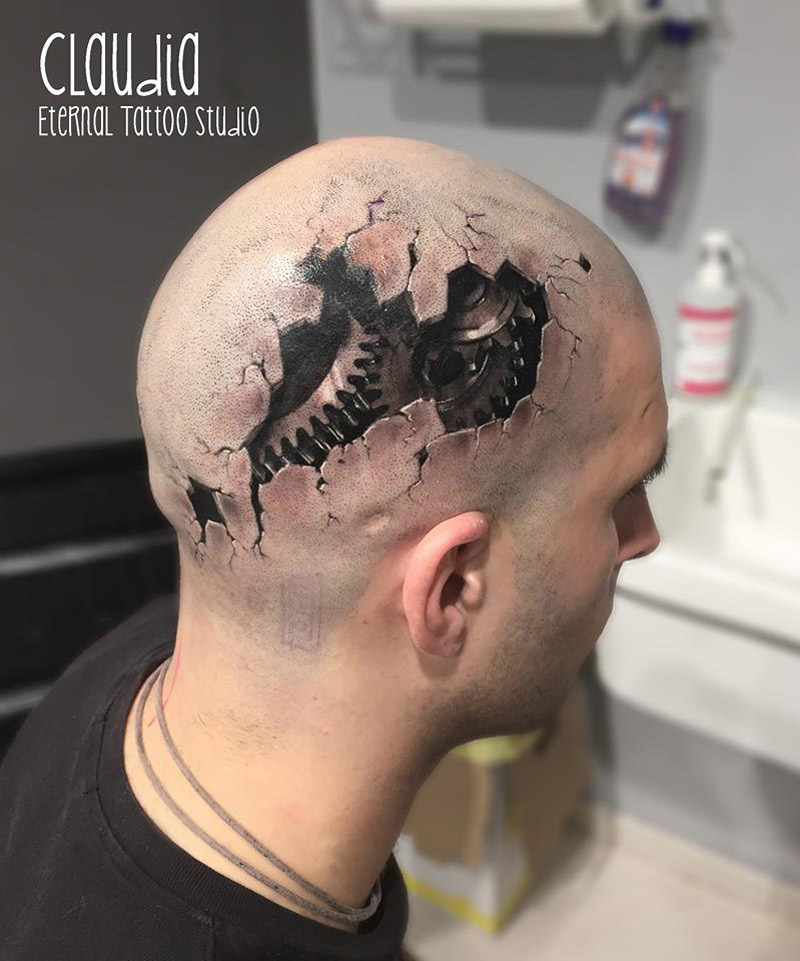 Gears head tattoo
