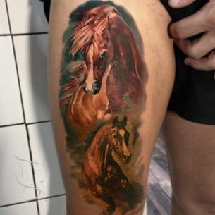 Realistic Horses Thigh Tattoo