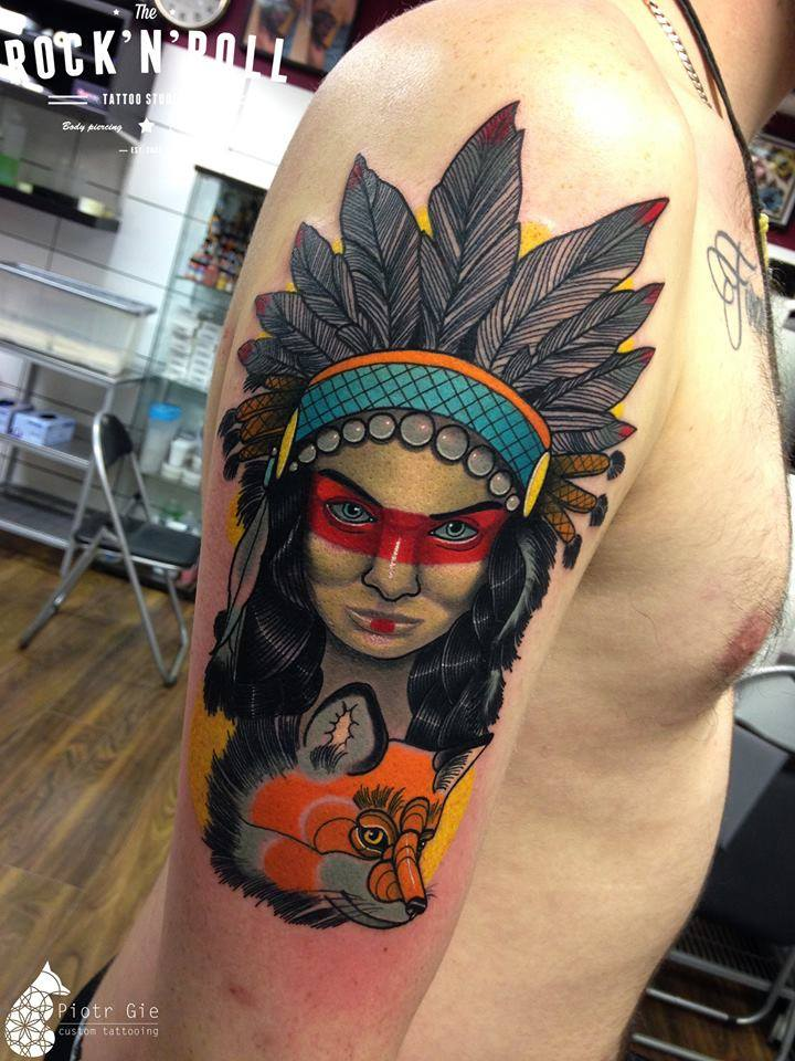 Native American Girl & Fox | Best tattoo design ideas