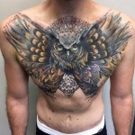 Owl cover up tattoo on chest