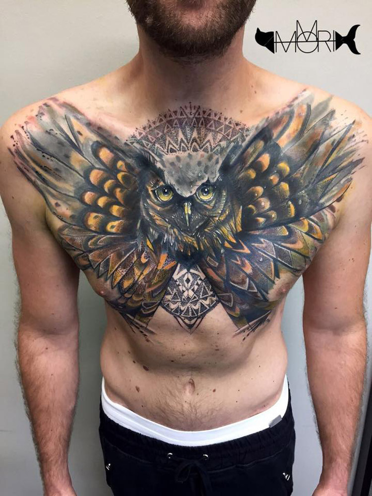owl chest cover up piece best tattoo design ideas. Black Bedroom Furniture Sets. Home Design Ideas