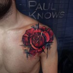 Red Rose on Shoulder