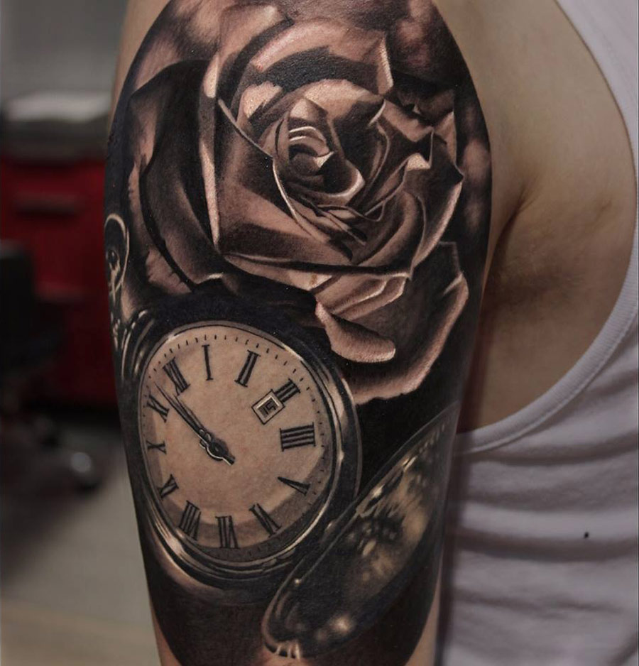 pocket watch roses sleeve best tattoo design ideas. Black Bedroom Furniture Sets. Home Design Ideas