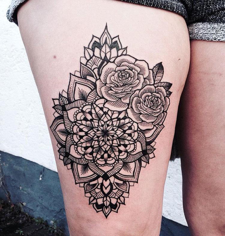 Thigh mandala for Mandala hip tattoo