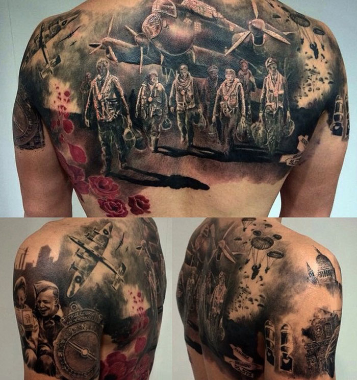 WW2 Back Tattoo