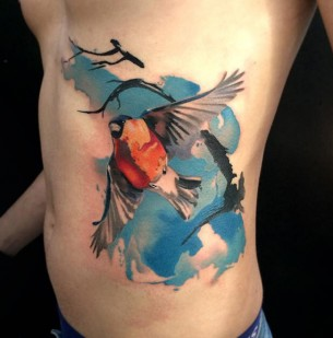 Bullfinch Watercolor Side Tattoo