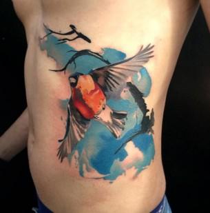 Bullfinch Watercolor Side Tattoo