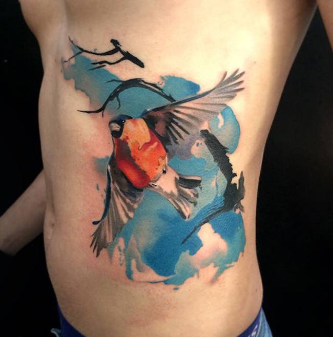 Watercolor hummingbird tattoo tattoos pinterest watercolor - Bullfinch Side Tattoo Best Tattoo Design Ideas