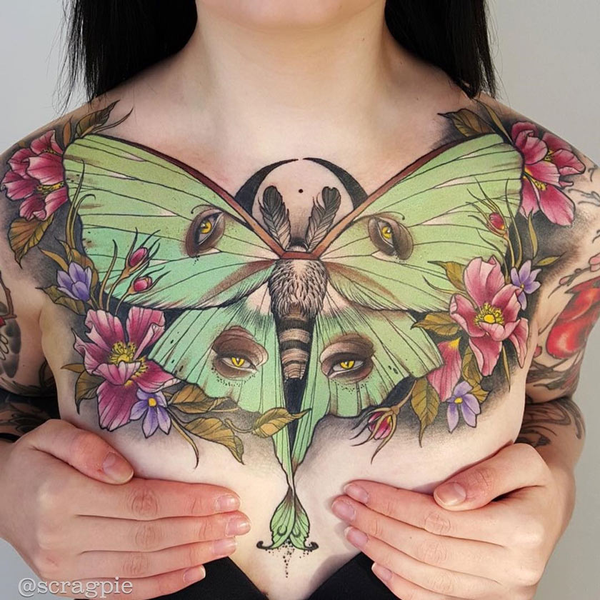 c038bf8d44642 Butterfly & Flowers On Girls Chest | Best tattoo design ideas