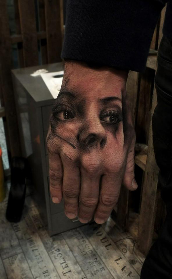 Hand Portrait Tattoo