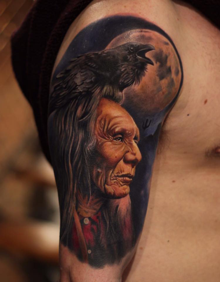 Indian Portrait With Raven Moon Best Tattoo Design Ideas