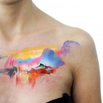 Watercolor Nature Chest Tattoo