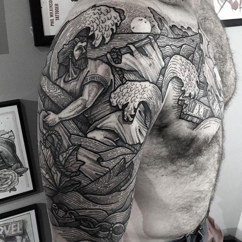 Odysseus Shipwreck Arm & Chest Tattoo