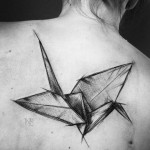 Origami bird tattoo