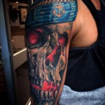 Glowing Sailor Skull Tattoo