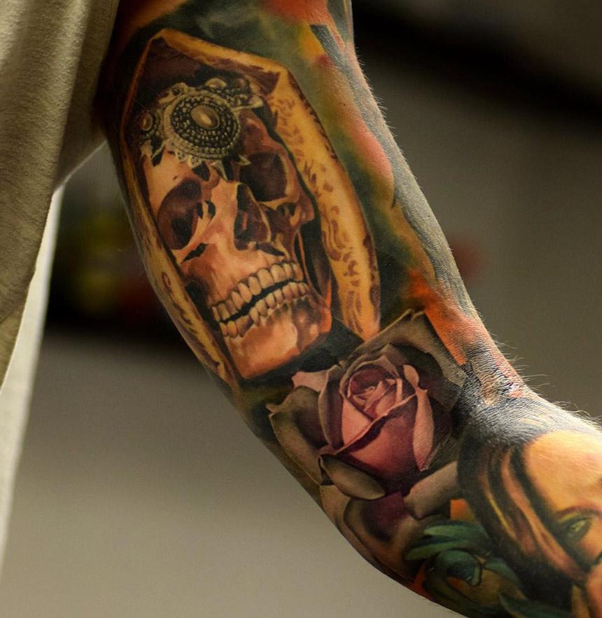 Veiled Skull Rose Sleeve Tattoo Ideas