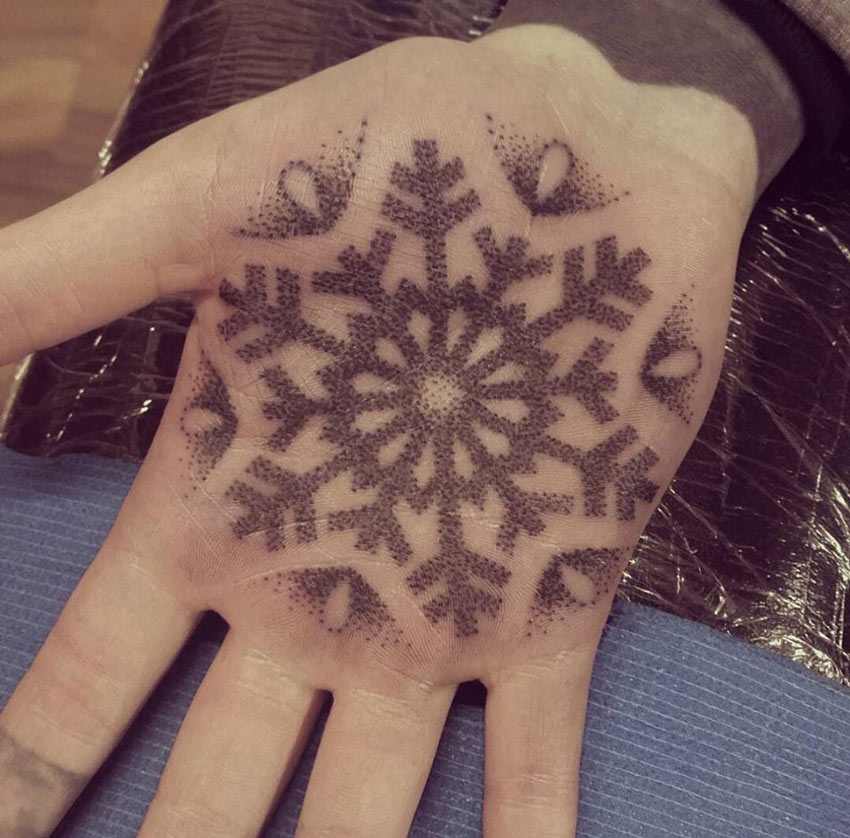 Snowflake Palm Tattoo