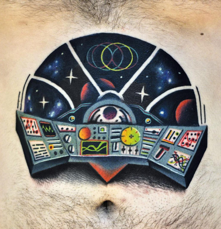 Spaceship Control Center Tattoo