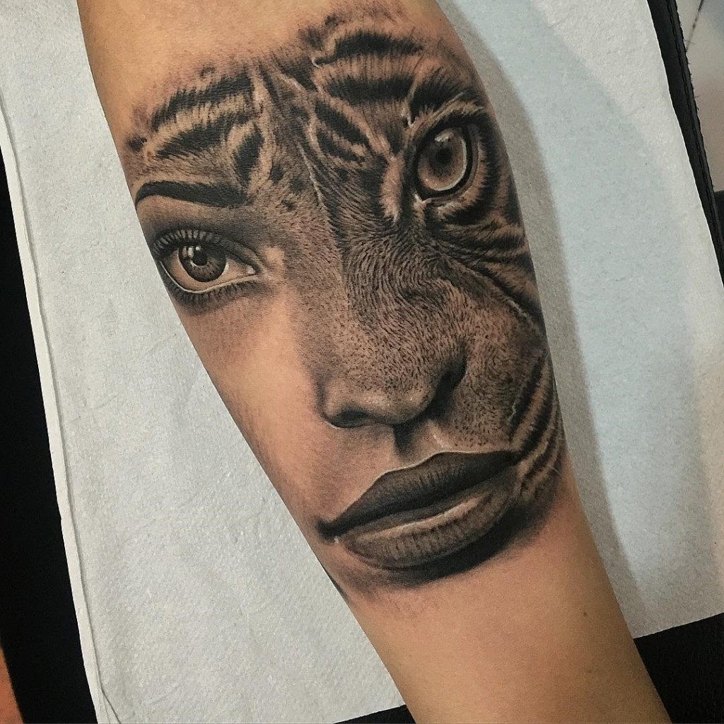 Womans Portrait & Tiger Merged